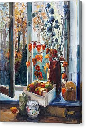Autumn At The Kitchen Window Canvas Print by Barbara Pommerenke