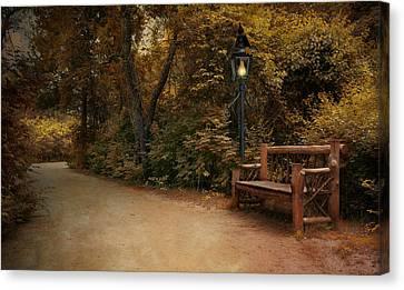 Lamp Post Canvas Print - Autumn Beckons by Robin-Lee Vieira