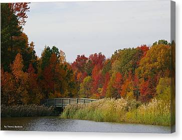 Canvas Print featuring the photograph Autumn Bridge by Tannis  Baldwin