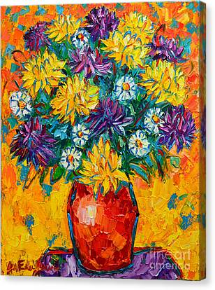Autumn Flowers Gorgeous Mums - Original Oil Painting Canvas Print by Ana Maria Edulescu