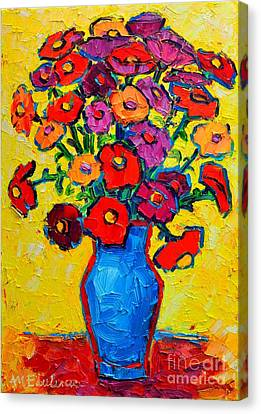 Autumn Flowers Zinnias Original Oil Painting Canvas Print by Ana Maria Edulescu