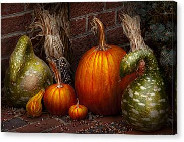 Autumn - Gourd - Family Get Together Canvas Print by Mike Savad