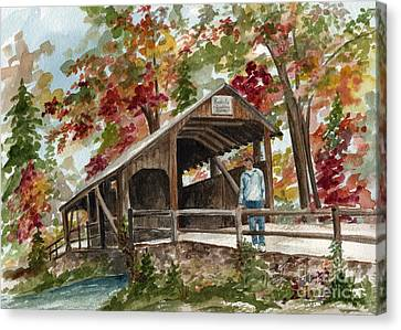 Canvas Print featuring the painting Autumn In Knoebels Grove  by Nancy Patterson