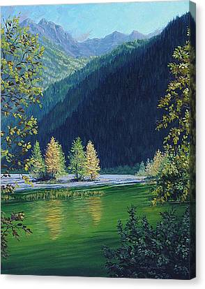 Canvas Print featuring the painting Autumn Knik River by Kurt Jacobson