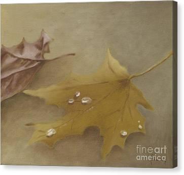 Canvas Print featuring the painting Autumn Leaves by Annemeet Hasidi- van der Leij