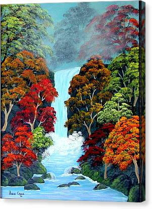 Canvas Print featuring the painting Autumn Leaves by Fram Cama