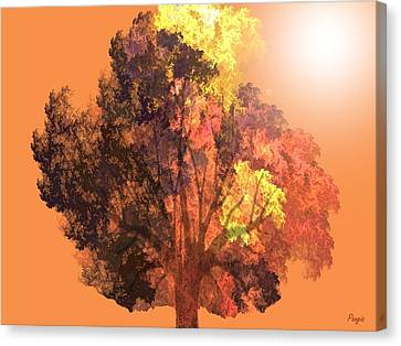 Canvas Print featuring the digital art Autumn Leaves by John Pangia