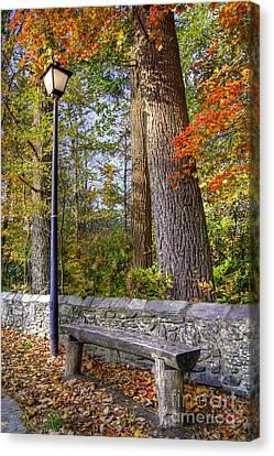 Lamp Post Canvas Print - Autumn Light by Benanne Stiens