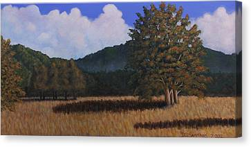 Canvas Print featuring the painting Autumn Meadow by Janet Greer Sammons