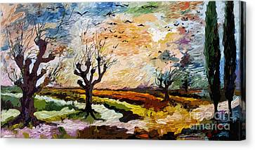 Autumn Migration Panoramic Landscape Canvas Print by Ginette Callaway