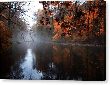 Autumn Morning By Wissahickon Creek Canvas Print by Bill Cannon