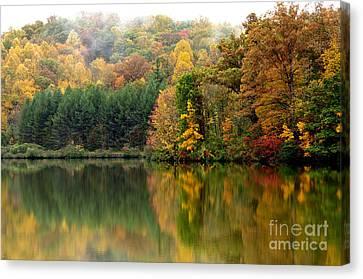 Autumn Morning On The Lake Canvas Print by Thomas R Fletcher
