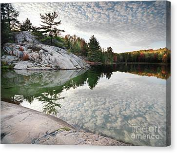 Autumn Nature Lake Rocks And Trees Canvas Print by Oleksiy Maksymenko