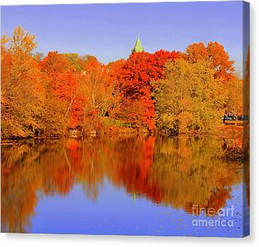 Autumn  On Mystic Lake Canvas Print