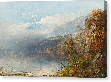 Maine Mountains Canvas Print - Autumn On The Androscoggin by William Sonntag