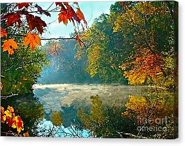 Rivers In The Fall Canvas Print - Autumn On The White River I by Julie Dant