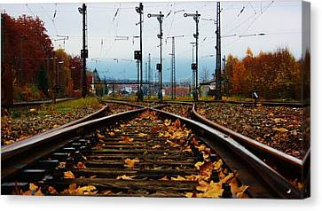 Autumn Railway Canvas Print by Bram Voets