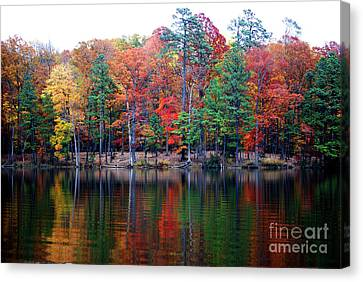 Canvas Print featuring the photograph Autumn Reflected  by Linda Mesibov