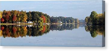 Canvas Print featuring the photograph Autumn Reflection On The Peshtigo River by Mark J Seefeldt