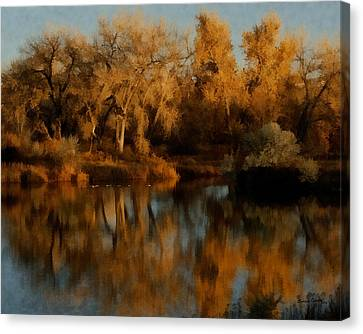 Autumn Reflections Painterly Canvas Print by Ernie Echols