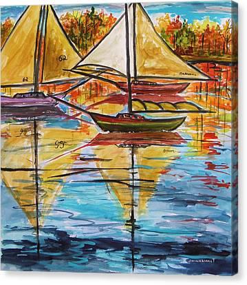 Autumn Sailboats Canvas Print by John Williams