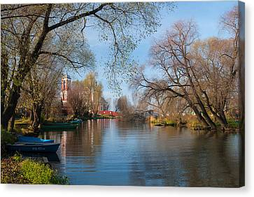 Autumn Scene On The River Canvas Print by Konstantin Gushcha