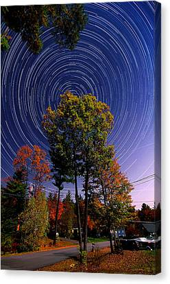 Autumn Star Trails In New Hampshire Canvas Print by Larry Landolfi