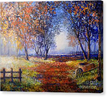 Canvas Print featuring the painting Autumn Wheelbarrow by Lou Ann Bagnall