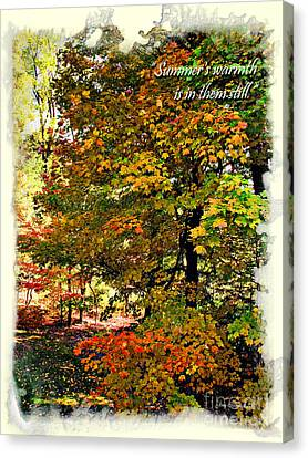 Autumn's Warmth Inspiration Quote Canvas Print by Joan  Minchak