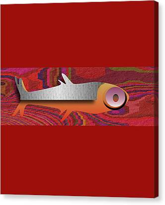 Canvas Print featuring the digital art Aztec Fish by Asok Mukhopadhyay