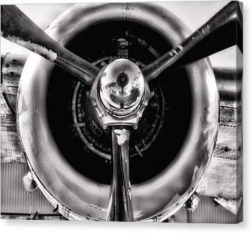B-25 Prop Hdr Monochromatic Canvas Print by Lynnette Johns