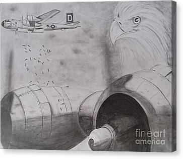 B-29 Bombing Run Over Europe Canvas Print by Brian Hustead