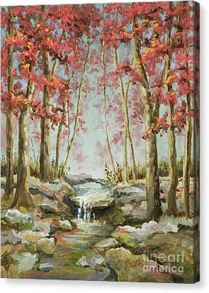Canvas Print featuring the painting Babbling Brook by Vic  Mastis