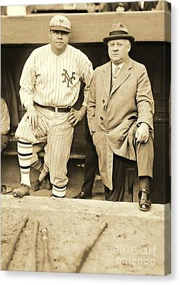 Babe Ruth And John Mcgraw 1923 Canvas Print by Padre Art