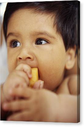 Baby Boy Eating Canvas Print by Ian Boddy