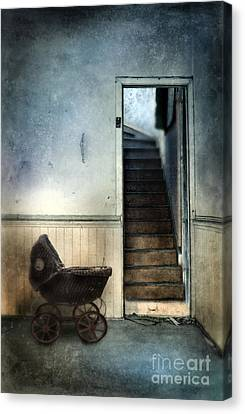 Baby Buggy In Abandoned House Canvas Print by Jill Battaglia