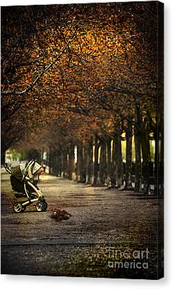 Baby Carriage With Toy Bear Alone On Street Canvas Print by Sandra Cunningham