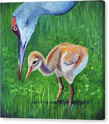 Canvas Print featuring the painting Baby Crane's Lesson by AnnaJo Vahle