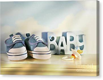 Baby Denim Shoes Canvas Print by Sandra Cunningham