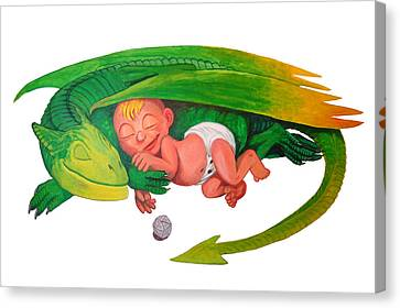 Baby Dragon Canvas Print by Harm  Plat