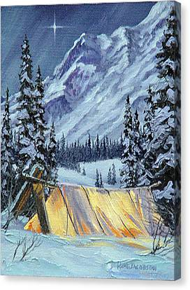 Canvas Print featuring the painting Baby Its Cold Outside by Kurt Jacobson