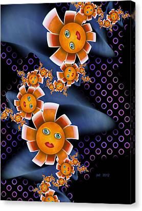 Baby Orange Flowers Canvas Print by Josette Dery