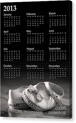 Baby Shoes Calendar 2013 Canvas Print by Jane Rix
