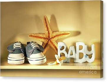 Baby Shoes On The Shelf Canvas Print by Sandra Cunningham