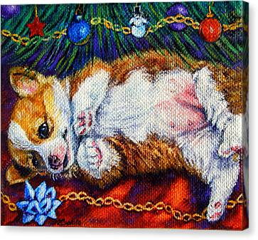 Baby's First Christmas - Pembroke Welsh Corgi Canvas Print by Lyn Cook