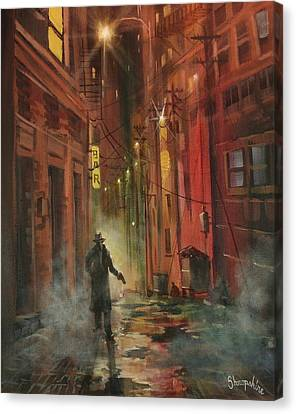 Back Alley Justice Canvas Print by Tom Shropshire