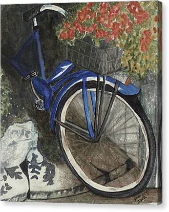 Bicycle With Flowers Canvas Print - Back Door At Brick Street Cafe by Joan Zepf
