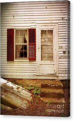 Back Door Of Old Farmhouse Canvas Print by Jill Battaglia