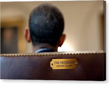 Back Of President Barack Obamas Head Canvas Print by Everett
