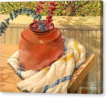 Canvas Print featuring the painting Back Porch Crockery by Bob  George